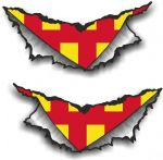 SMALL Pair Triangular Ripped Torn Metal & Northumberland County Flag Vinyl Car Sticker 75x35mm Each